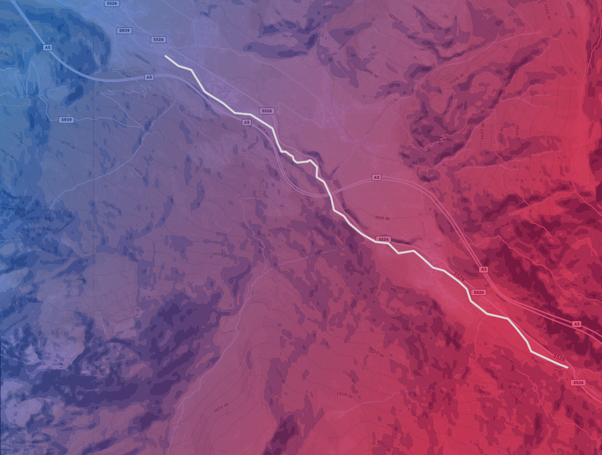 mappa del tratto di fiume Equilivaz
