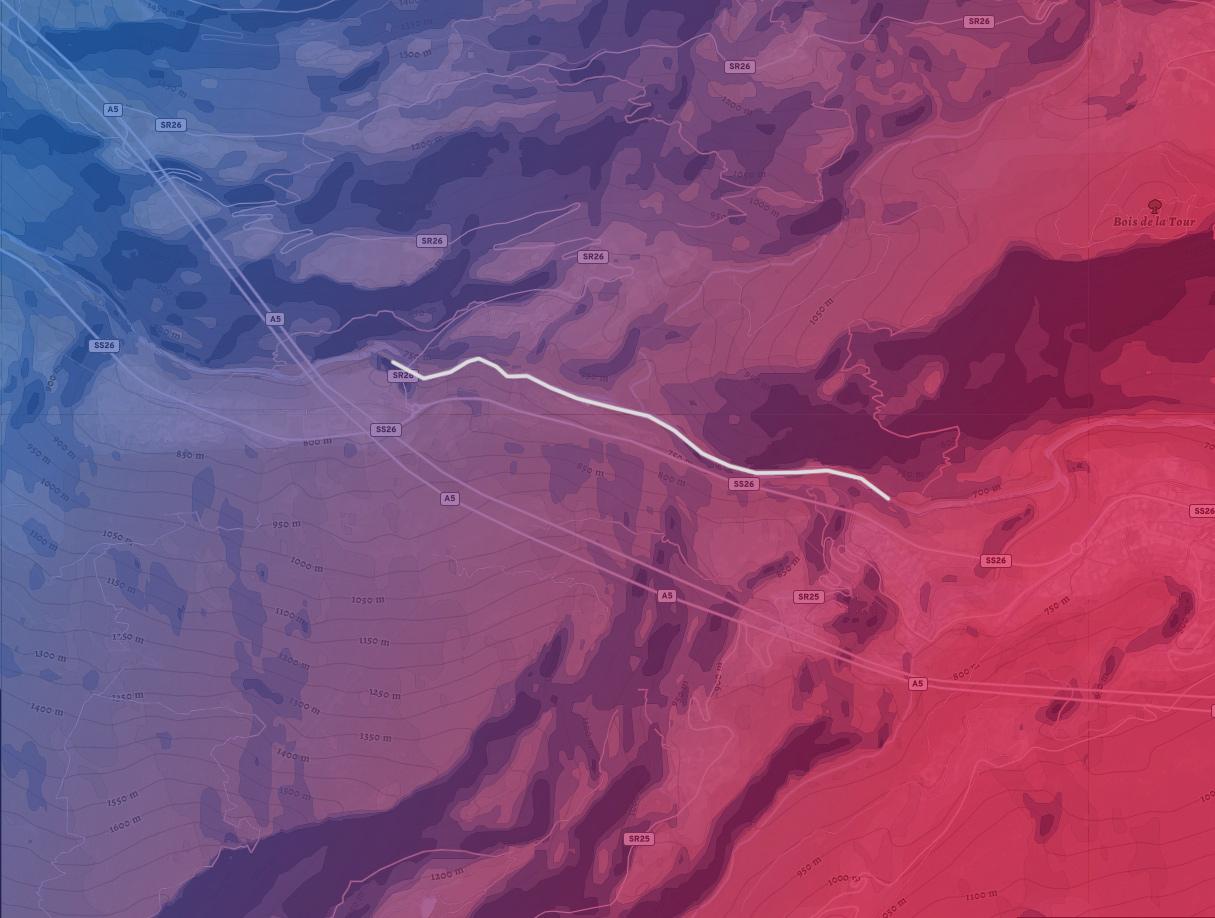 mappa del tratto di fiume avise leverogne
