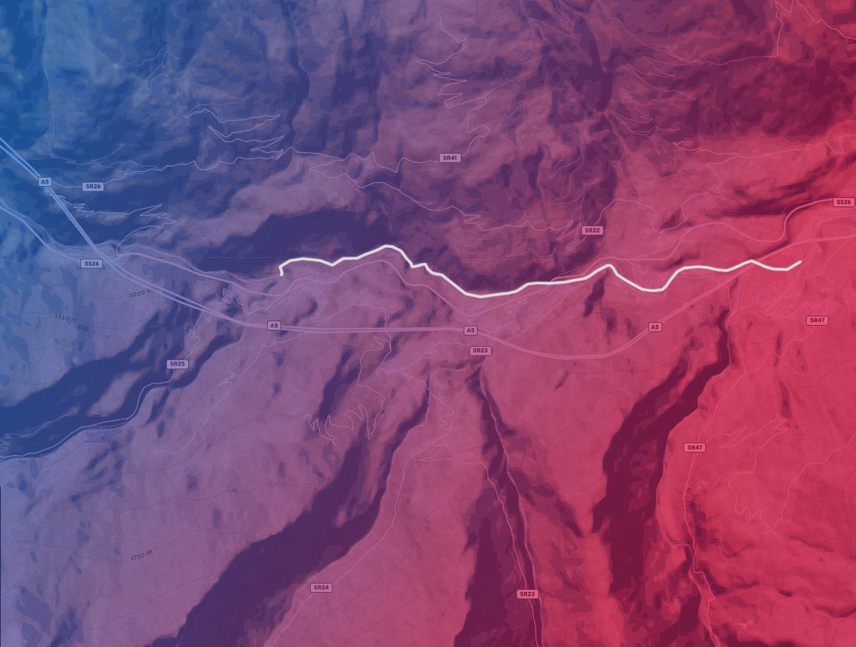 mappa del tratto di fiume Arvier Aymavilles