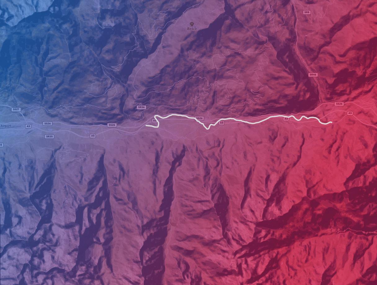 mappa del tratto di fiume Nus Chatillon