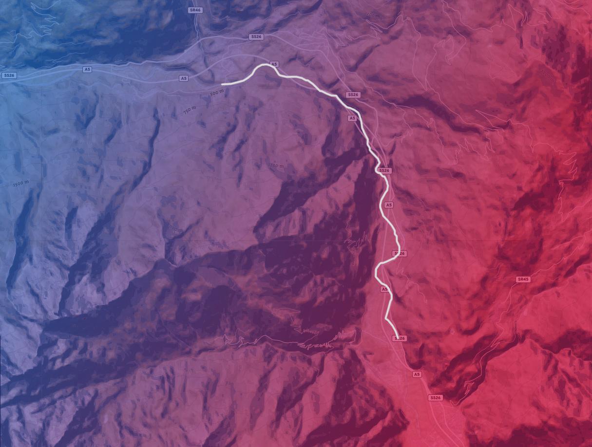 mappa del tratto di fiume Chatillon Monjovet