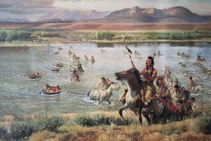 Dipinto di John Clymer: nativi americani che attraversano un fiume con pelli di animale gonfiati