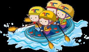 disegno di un gruppo di bambini che fa rafting