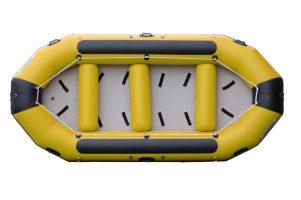 foto di un gommone da rafting giallo