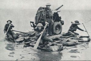 Soldati inglesi sul Tamigi a bordo di un raft