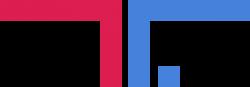 Logo rafting republic, rosso e blu
